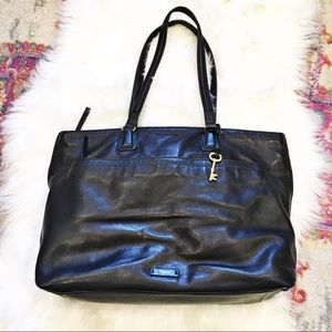 Fossil JULIA Black Leather Tote Bag $298
